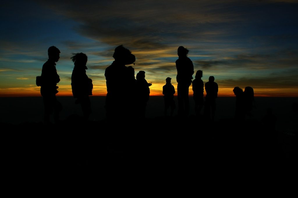 people, silhouettes, group